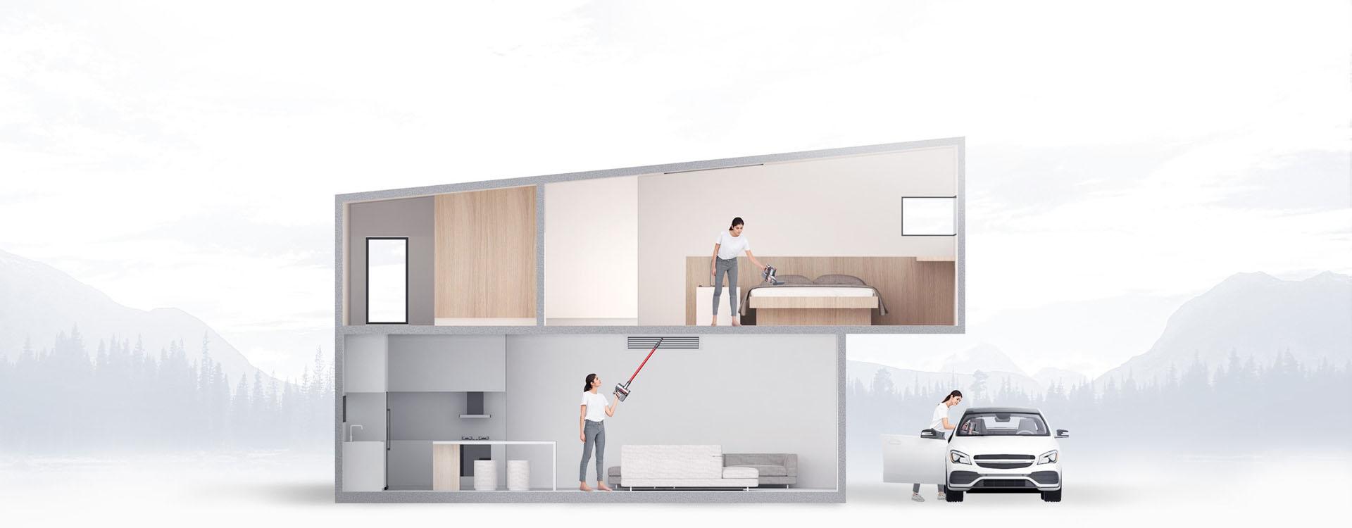 Przez przkrój domu widać jak kobieta sprząta przy pomocy Roborock H6 sypialnię. Sprząta także wnętrze samochodu.