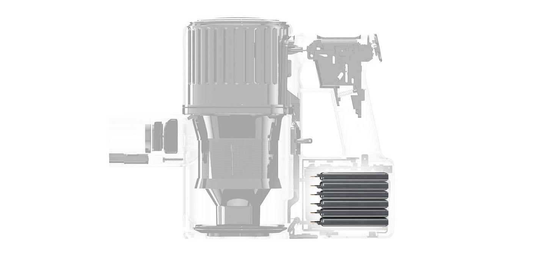 Schemat budowy Roborock H6 z widocznym akumulatorem.