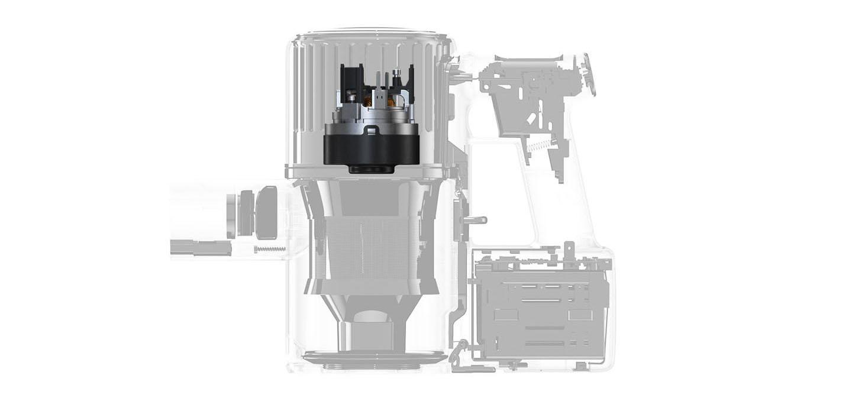 Schemat budowy Roborock H6 z widocznym silnikiem.