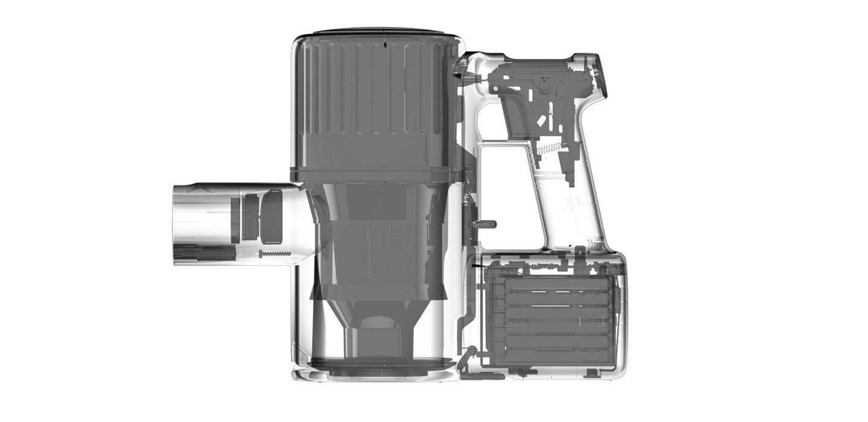 Schemat budowy Roborock H6 z widocznymi wzmocnieniami obudowy.